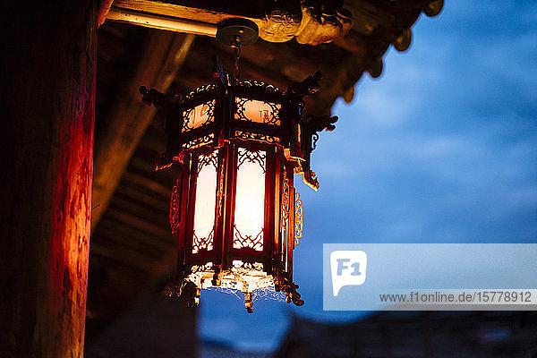Lantern on building  Shaxi  Yunnan  China
