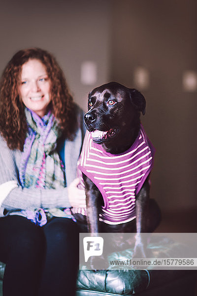 Frau und Haushund im T-Shirt