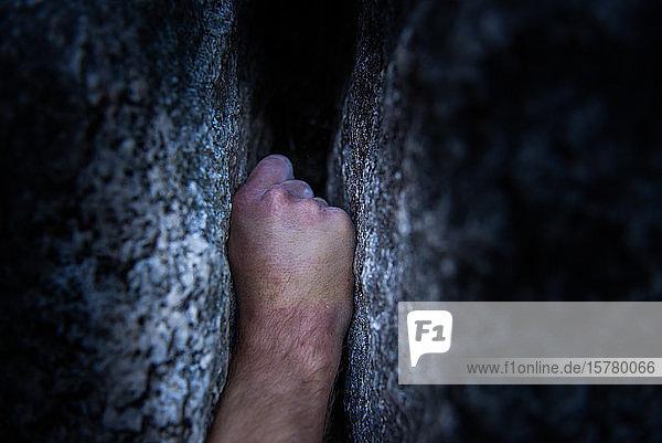 Hand eingekeilt in einem Riss in einer Felswand  traditionelles Klettern auf Granit  Tantaluswand  Squamish