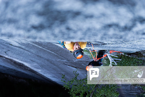 A climber traditional climbing on granite  Tantalus Wall  Squamish