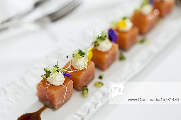 Fancy salmon cubes salad