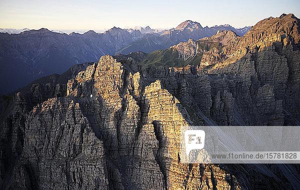 Austria  Tyrol  Axamer Lizum  Kalkkogel mountain at first morning light