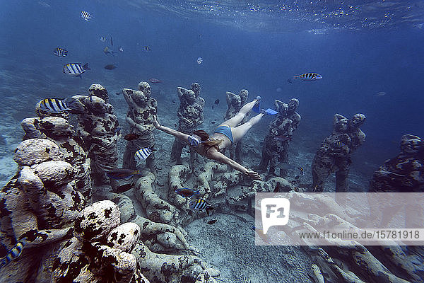 Woman swimming near underwater sculpture made by Jason deCaires Taylor  Gili Meno island  Bali  Indonesia