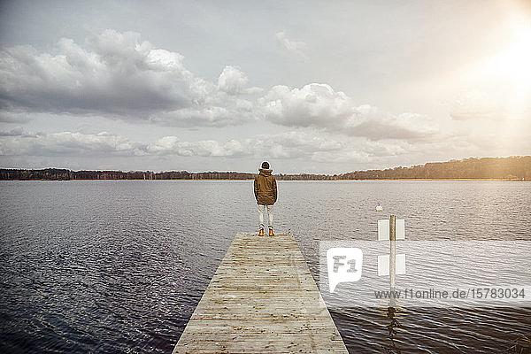 Rückenansicht eines jungen Mannes  der auf einem Steg steht und auf den See schaut