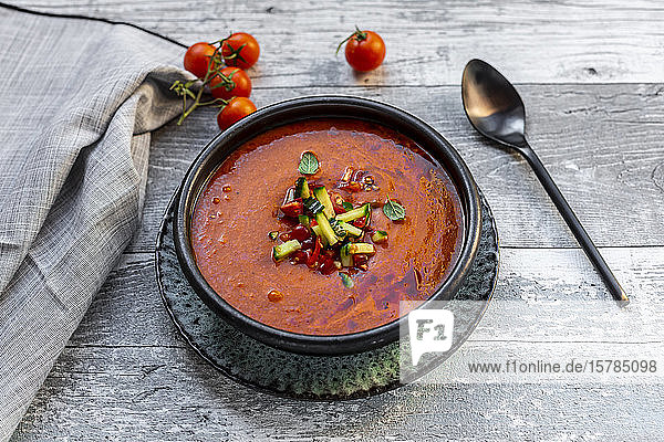 Gazpacho - cold tomato soup with cucumber topping