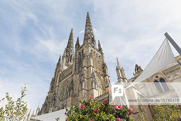 France  Gironde  Bordeaux  Low angle view of spires of Bordeaux Cathedral