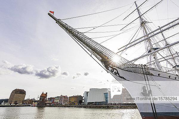 Deutschland  Mecklenburg-Vorpommern  Stralsund  Bug der Gorch Fock Schiff im Hafen der Küstenstadt festgemacht