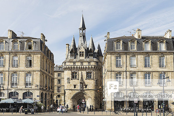 France  Gironde  Bordeaux  Street in front ofPorteCailhaumedieval gate standing between old town residential buildings