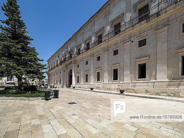 Italy  Province of Taranto  Martina Franca  Piazza Roma and balconies of Ducal Palace