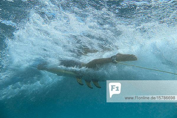 Unterwasseransicht einer Surferin  Bali  Indonesien
