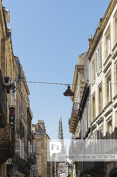 France  Gironde  Bordeaux  Old town residential buildings with Bordeaux Cathedral in background