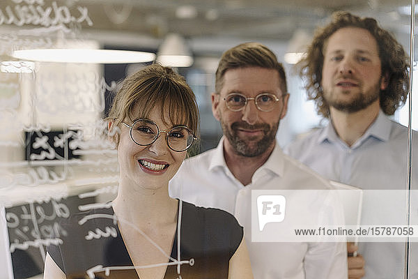 Porträt eines selbstbewussten Geschäftsteams hinter einer Glasscheibe im Büro