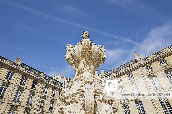 France  Gironde  Bordeaux  Low angle view of ornate Parliament Fountain