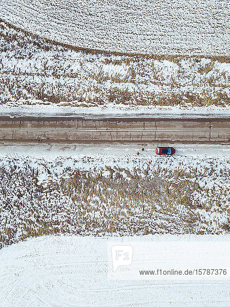 Russia  Moscow region  Aerial view of car in Winter landscape