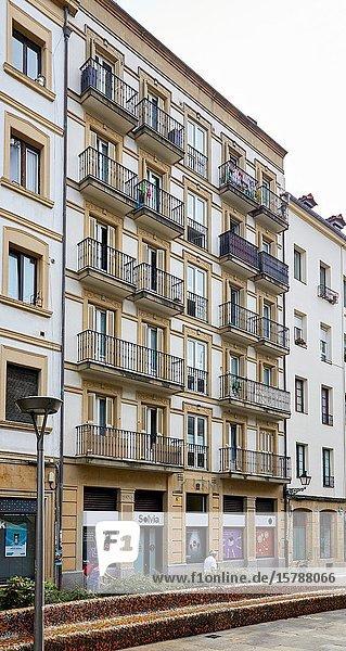 Apartment building  Sarriegi square  Donostia  San Sebastian  Gipuzkoa  Basque Country  Spain  Europe