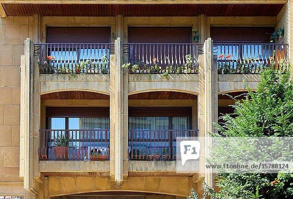 Balconies  Apartment building  Txofre Square  Donostia  San Sebastian  Gipuzkoa  Basque Country  Spain  Europe