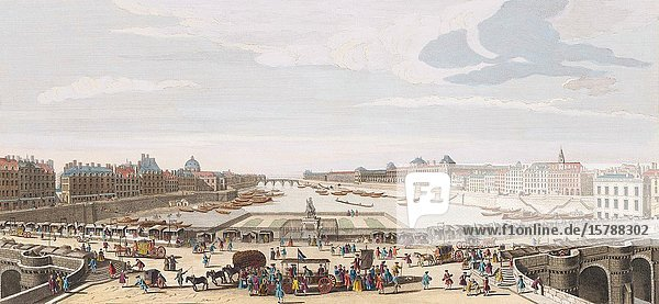 A View of Paris taken from the middle of Pont Neuf towards Pont Royal. From an engraving dated 1749 by Remigius Parr after a work by Jacques Rigaud. Later colourization.