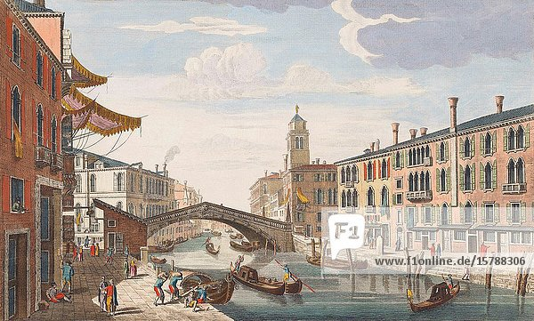A view of the bridge on the Canal Reggio and the Church of St. Jeremiah to the Great Canal at Venice. From an engraving dated 1750 by Thomas Bowles II after a work by P. Brookes. Later colourization.