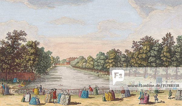 A view of the canal in St. James's Park  Buckingham House  &c. taken from the parade  London  England. After a print dated 1753 from a work by Caneletto. Published by Robert Sayer. Later colourization.