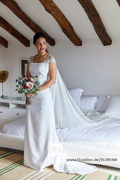 Bride  Wedding dress  Event in rural house  Hondarribia  Gipuzkoa  Spain