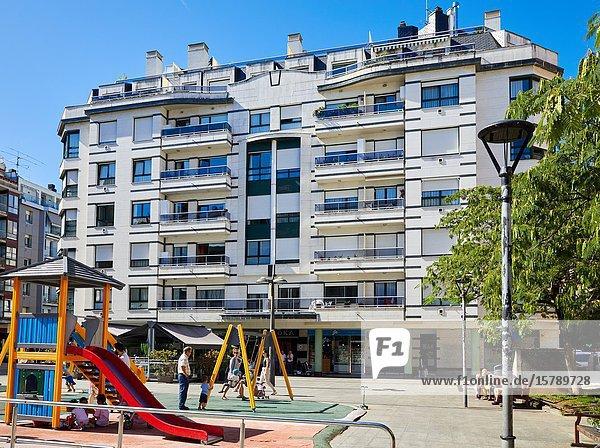 Playground  Apartment building  Nafarroa Square  Donostia  San Sebastian  Gipuzkoa  Basque Country  Spain  Europe