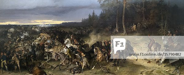 Battle Between the Russians and the Swedes at Lesnaya on 28 October 1709 by Alexander von Kotzebue. Exhibited in the Malaga branch of the State Russian Museum. Colección del Museo Ruso San Petersburgo/Málaga. Russian Museum Collection  St. Petersburg/Málaga. Malaga  Costa del Sol  Malaga Province  Andalusia  southern Spain.