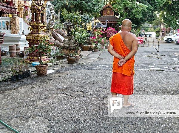 Monk at Wat Chiang Man  Chiang Mai  Thailand.