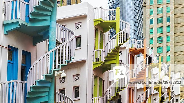 Colorful spiral staircases at Bugis Village  Singapore  Republic of Singapore.