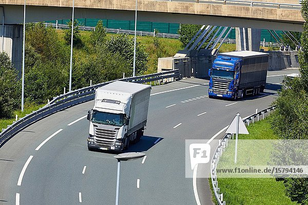 Highway Trucks  Gipuzkoa  Basque Country  Spain  Europe