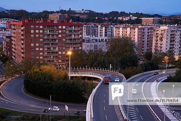 Viaduct  Apartment buildings  Donostia  San Sebastian  Gipuzkoa  Basque Country  Spain  Europe