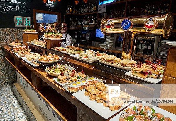 Pintxos  Portaletas Bar  Parte Vieja  Old town  Donostia  San Sebastian  Gipuzkoa  Basque Country  Spain  Europe