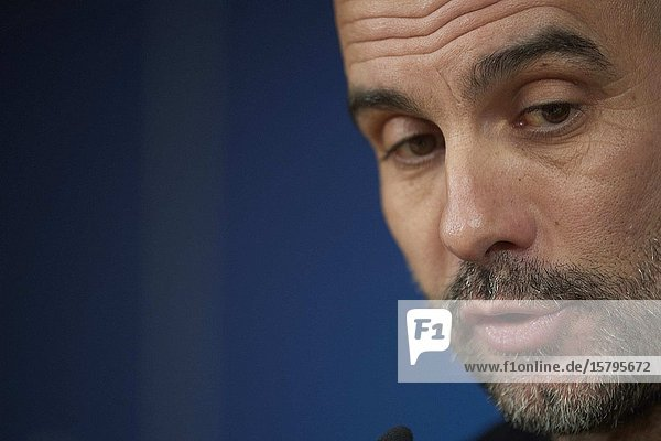 Pep Guardiola during a press conference ahead of their UEFA Champions League round of 16 first leg match against Real Madrid at Santiago Bernabeu Stadium on February 25  2020 in Madrid  Spain