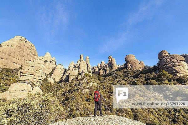 Les Agulles  Natural Park of Montserrat mountain  Barcelona  Spain.