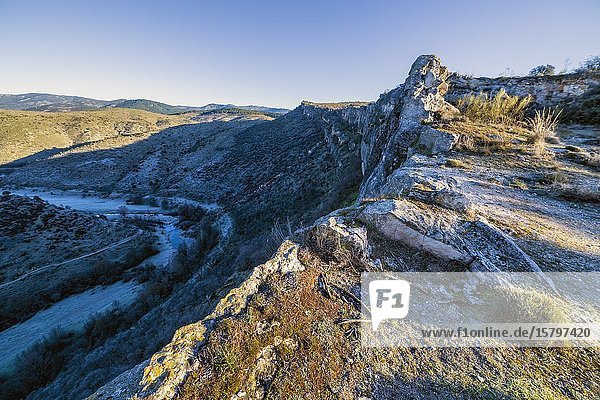Cliffs in Patones  early in the morning in winter time. Madrid. Spain. Europe.