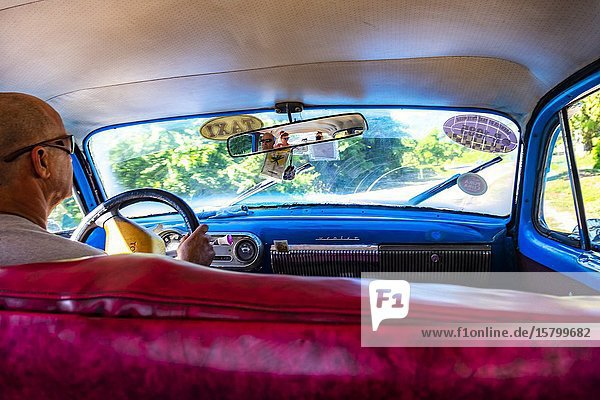Cuban local driving a classic car used as a taxi  Republic of Cuba  Caribbean  Central America.