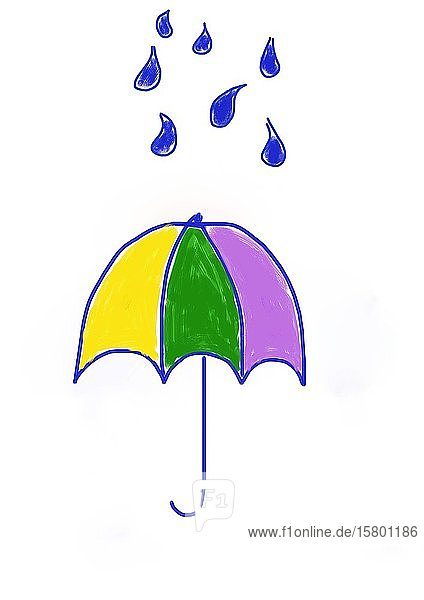 Naive illustration  children's drawing  umbrella with water drops  Germany  Europe