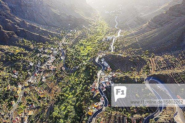 Los Granados und Chele  Valle Gran Rey  Luftaufnahme  La Gomera  Kanaren  Spanien  Europa