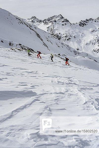 Skitourengeher im Schnee  hinten Tarntaler Köpfe  Wattentaler Lizum  Tuxer Alpen  Tirol  Österreich  Europa