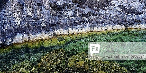 Formation von Basaltsteinen an einer Steilküste am Atlantik  La Palma  Kanaren  Spanien  Europa