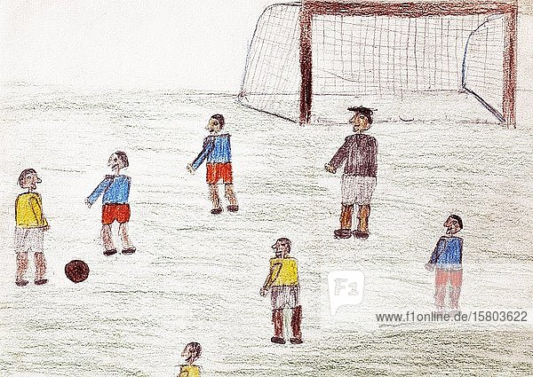 Naive illustration  children's drawing  children playing soccer  Germany  Europe