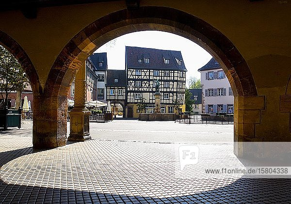 Half-timbered houses  Schwendi Fountain at Place de Ancienne Douane  Colmar  Alsace  France  Europe