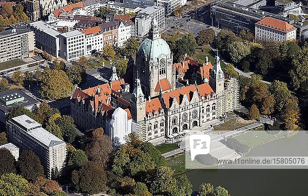Neues Rathaus  Maschpark  Hannover  Niedersachsen  Deutschland  Europa