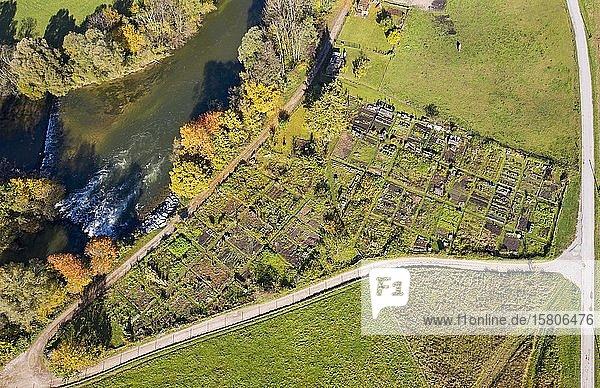 Kleingartenanlage  Gemeinschaftsgarten  Gelting bei Geretsried  Loisach  Tölzer Land  Luftbild  Oberbayern  Bayern  Deutschland  Europa