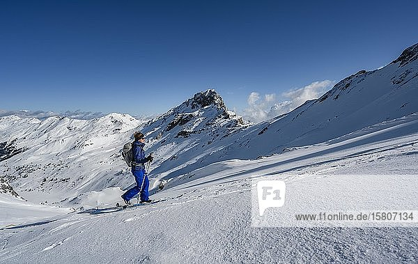 Skitourengeher  Aufstieg zur Geierspitze  Wattentaler Lizum  Tuxer Alpen  Tirol  Österreich  Europa