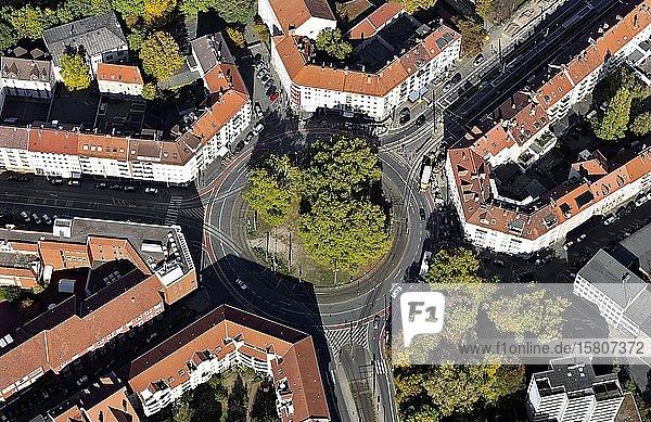 Goetheplatz mit gründerzeitlicher Blockrand-Bebauung  Kreisverkehr  Calenberger Neustadt  Hannover  Niedersachsen  Deutschland  Europa
