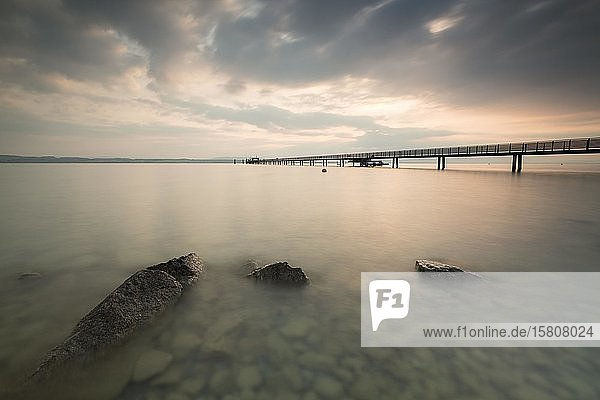 Longest jetty at Lake Constance in the morning light in Altnau  Lake Constance  Thurgau  Switzerland  Europe