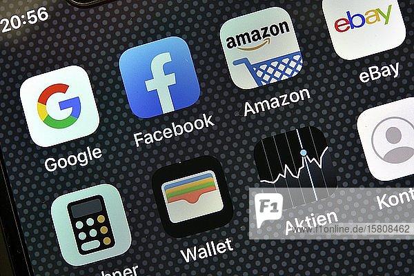 Diverse Software Apps auf Display eines Apple iPhone  Baden-Württemberg  Deutschland  Europa