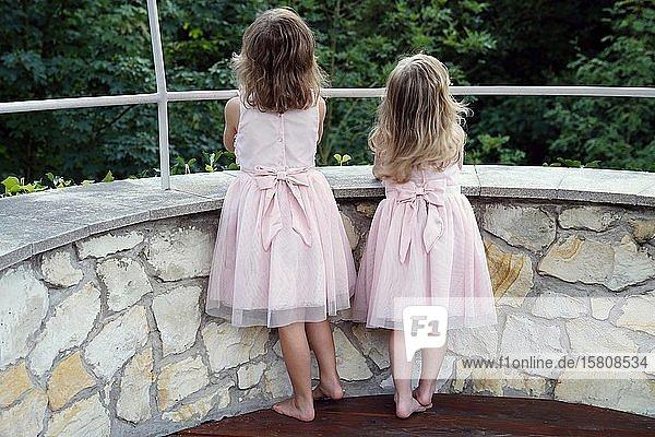 6 Jahre alt  3 Jahre alt  zwei Mädchen  Geschwister  Blick von hinten  Tschechien  Europa
