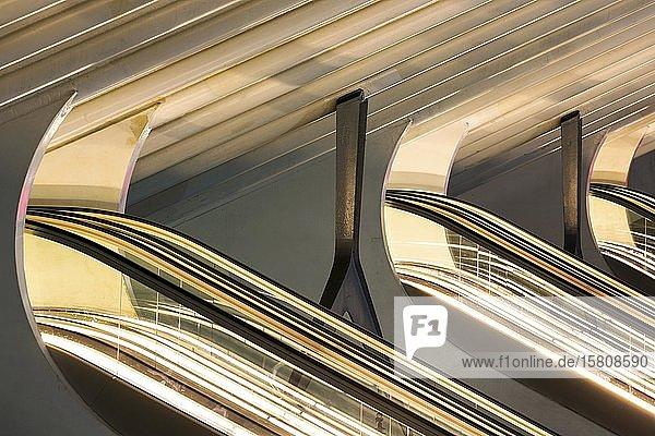 Rolltreppen im Bahnhof von Lüttich  Gare de Liège-Guillemins  entworfen vom spanischen Architekten Santiago Calatrava  Nachtaufnahme  Lüttich  Wallonische Region  Belgien  Europa