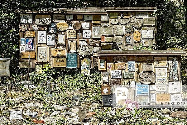 Votivtafeln  Maria hat geholfen  Mariengrotte im Wald  Wallfahrtsort Maria Vesperbild  Ziemetshausen  Günzburg  Schwaben  Bayern  Deutschland  Europa